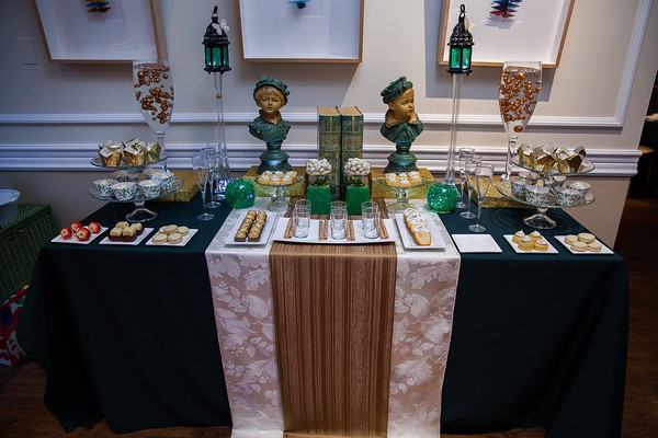 green and gold dessert station
