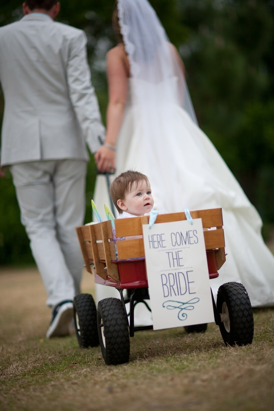 baby in wedding wagon