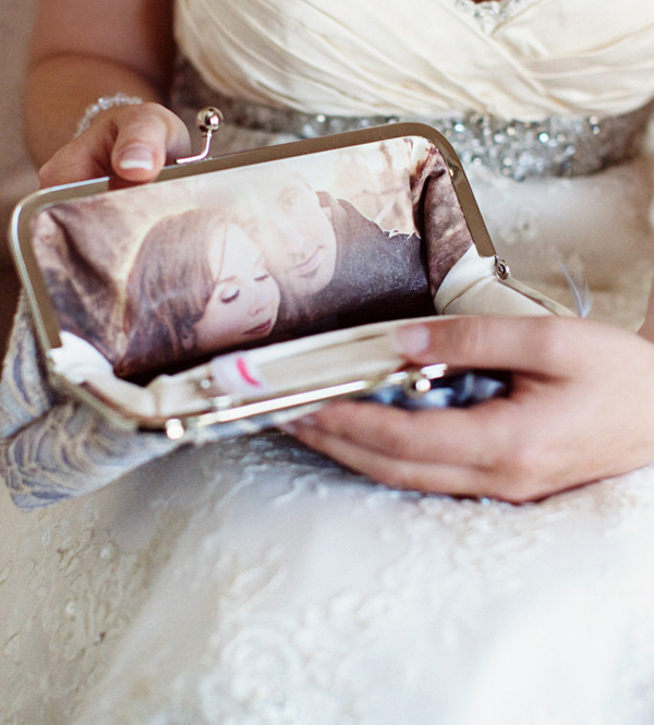 personalized bride clutch lining