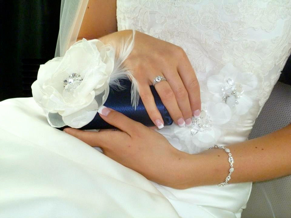 blue and ivory bride clutch
