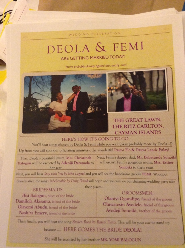 DIY newsletter wedding program