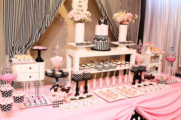 pink black and white dessert station