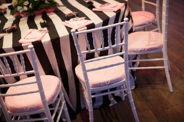 white and black striped table linen